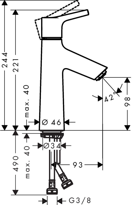 Bateria umywalkowa 100 bez kpl. odpływowego Hansgrohe Talis S rysunek techniczny