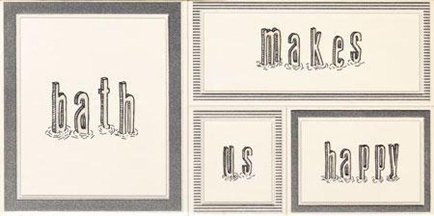 Dekor ścienny 44,8x22,3 cm Domino Grafite white 1 STR