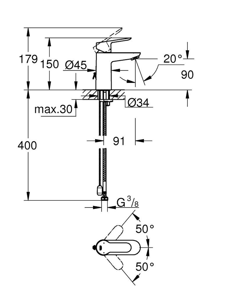 Bateria umywalkowa 15 cm Grohe BauEdge rysunek techniczny