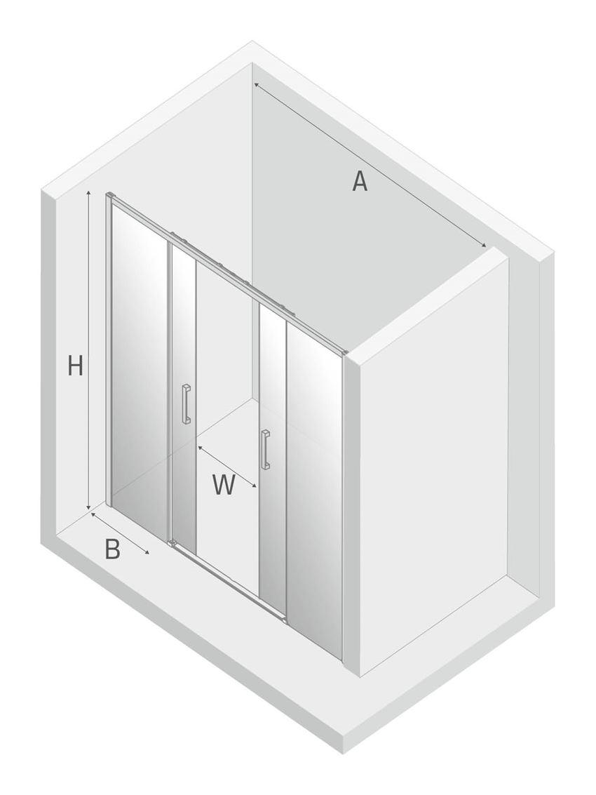 Drzwi prysznicowe podwójne przesuwne New Trendy Prime rysunek