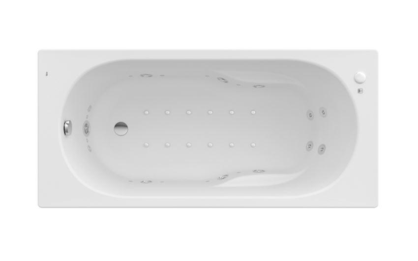 Prostokątna wanna akrylowa z hydromasażem Effects Titanium 150x70 cm Roca Genova N