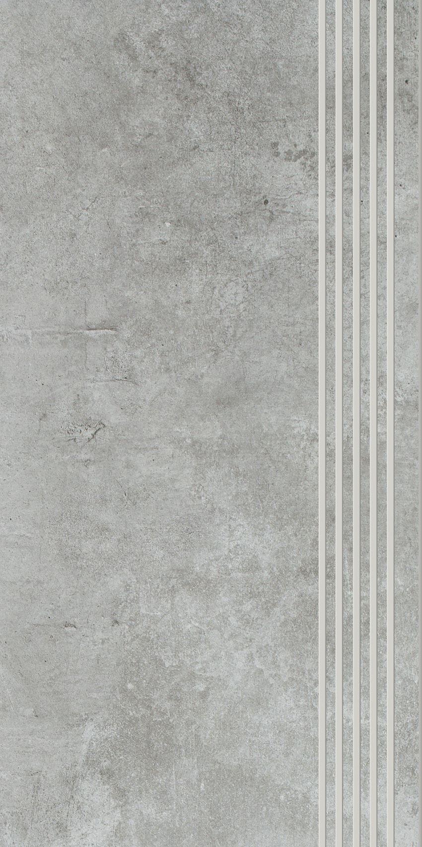 Płytka stopnicowa 29,8x59,8 cm Paradyż Scratch Grys Stopnica Prosta Nacinana Półpoler