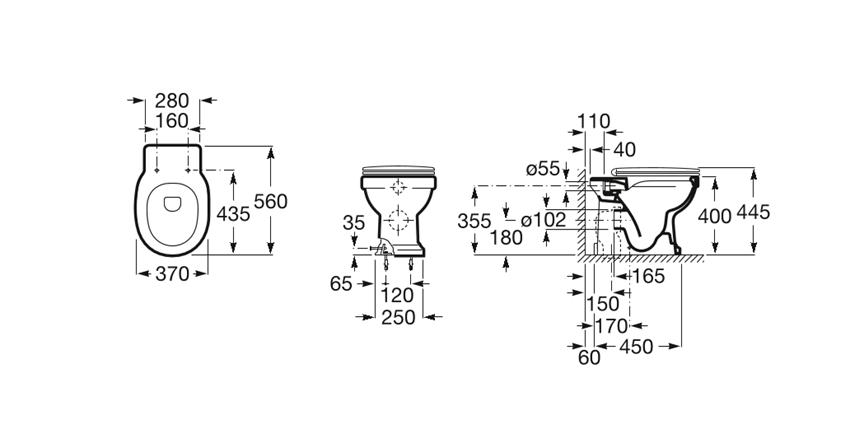 Miska WC Rimless stojąca o/podwójny 37x56x40 cm Roca Carmen rysunek
