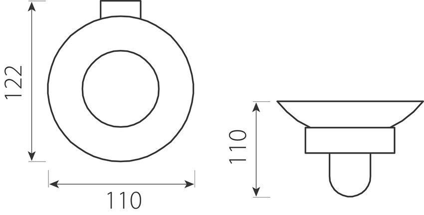 Mydelniczka szklana Ferro Audrey rysunek techniczny