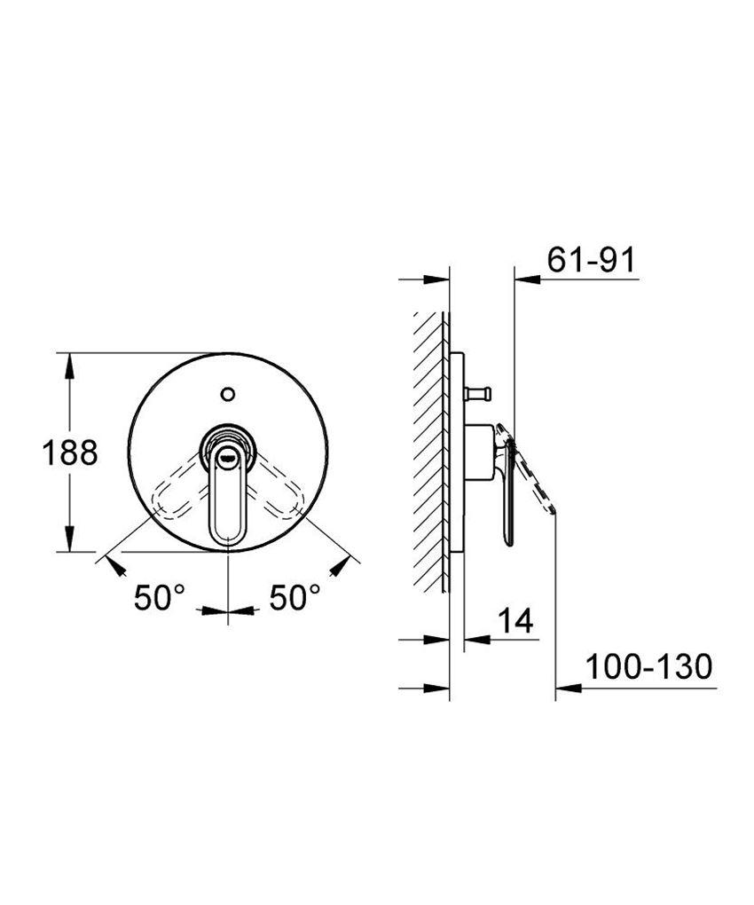 Jednouchwytowa bateria wannowa Grohe Veris 19344000 rysunek techniczny