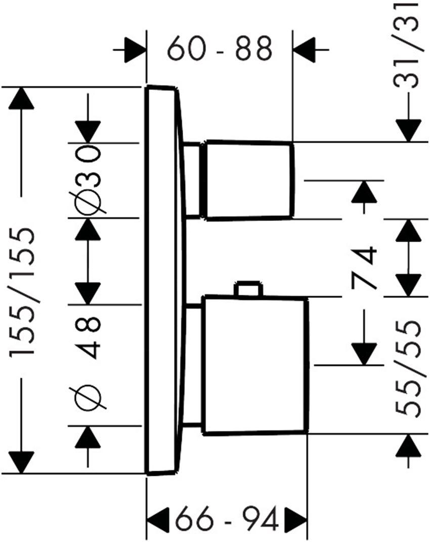Bateria termostatyczna element zewnętrzny chrom Hansgrohe PuraVida rysunek techniczny