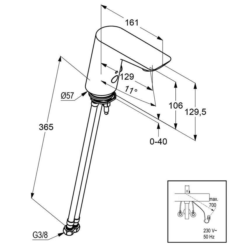 Elektroniczna bateria umywalkowa 12,9 cm Kludi Balance rysunek techniczny