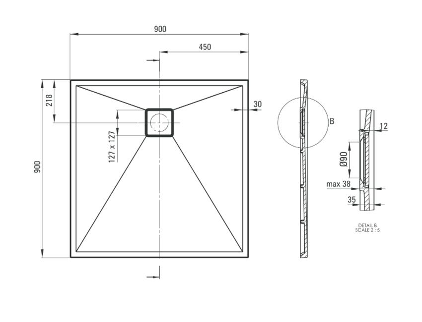 Brodzik kwadratowy granitowy 90 cm Deante Correo rysunek techniczny