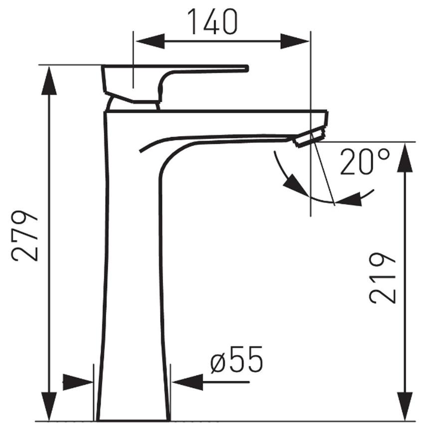 Bateria umywalkowa wysoka FDesign Pinea rysunek