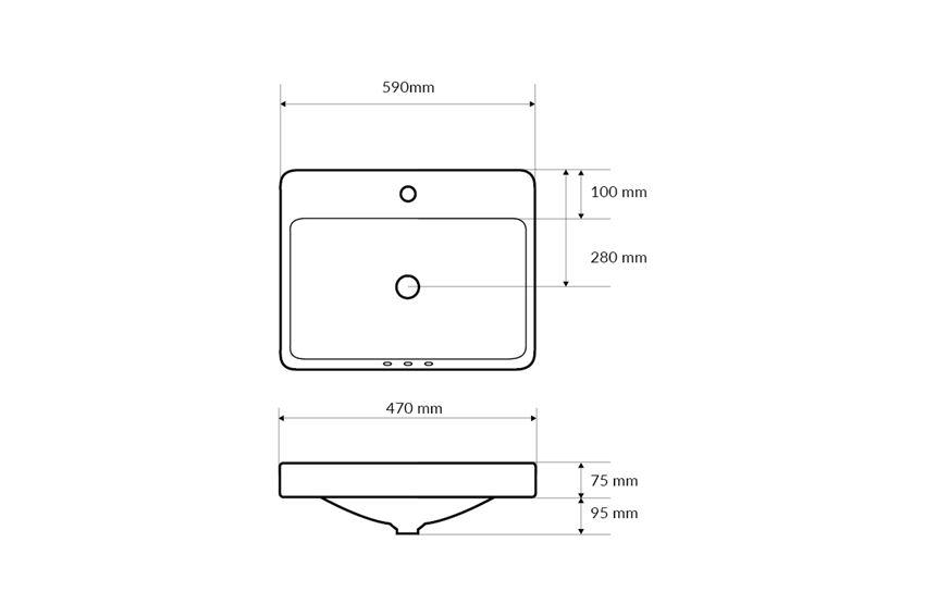 Umywalka wpuszczana w blat 59x47x17 cm Excellent Holmi rysunek techniczny