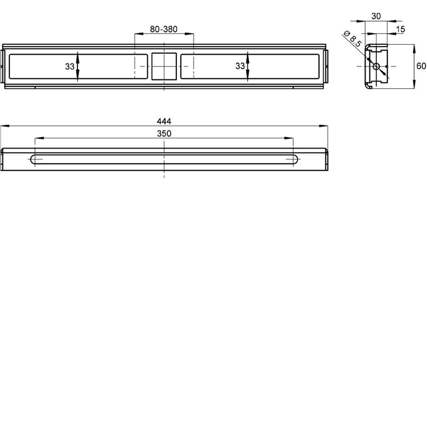 Uchwyt do montażu baterii ściennych natynkowych przy jednoczesnym zastosowaniu stelaży podtynkowych Aquafix do umywalek Franke Aquafix rysunek techniczny