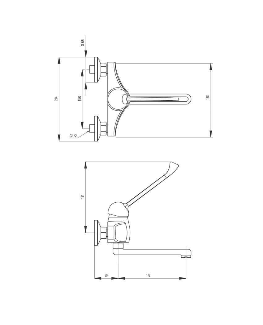 Bateria umywalkowa ścienna Deante Vital rysunek techniczny