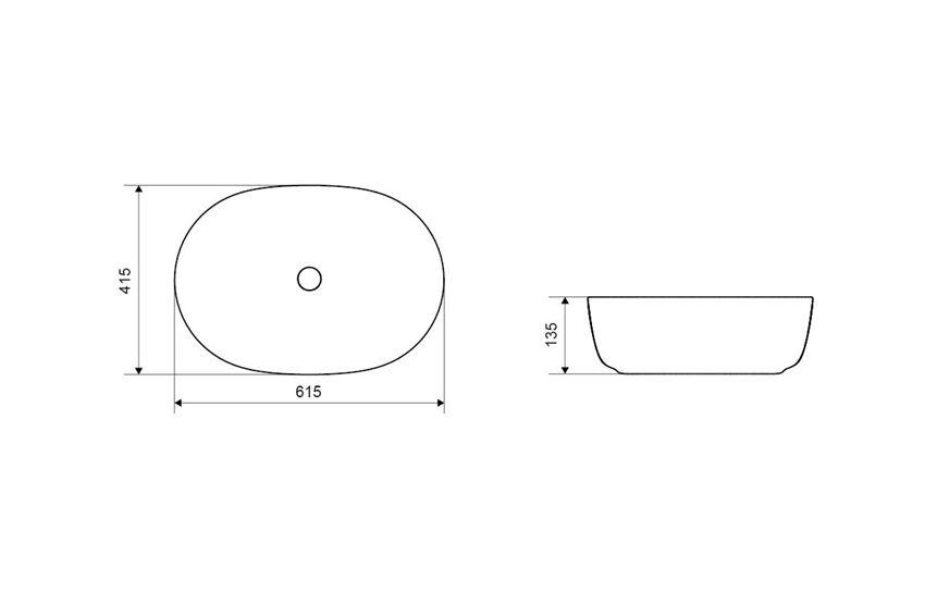 Umywalka nablatowa 60 cm Excellent Jima rysunek techniczny