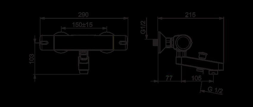 Bateria wannowo-prysznicowa z termostatem Oras Nova rysunek techniczny
