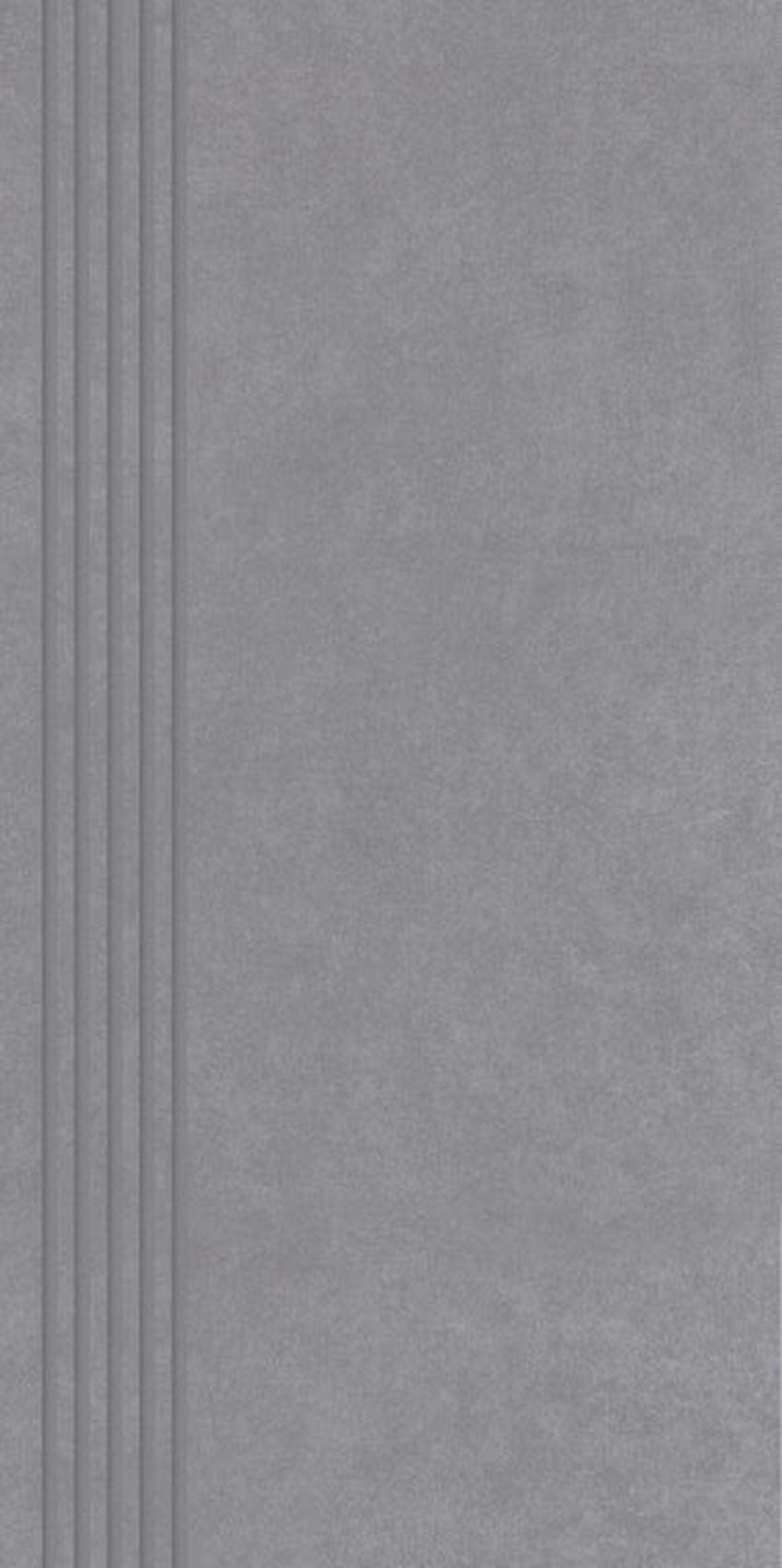 Płytka stopnicowa 29,8x59,8 cm Paradyż Tero Grafit Stopnica Prosta Nacinana Półpoler