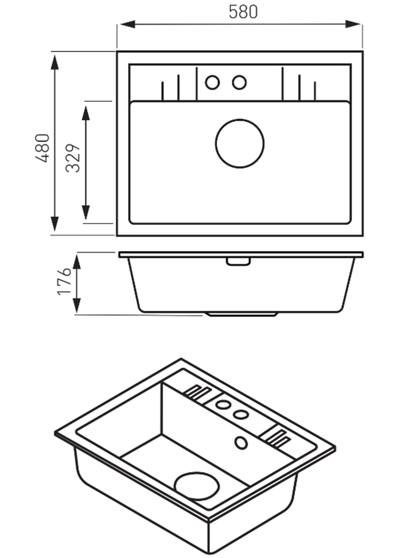 Zlewozmywak prostokątny 1-komorowy FDesign Carioca rysunek