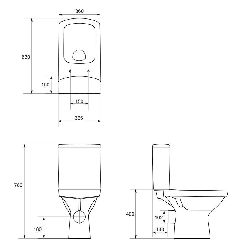 WC kompakt bez deski Cersanit Easy rysunek techniczny