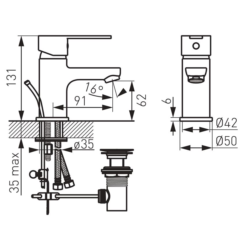 Bateria umywalkowa stojąca Ferro Savio rysunek techniczny