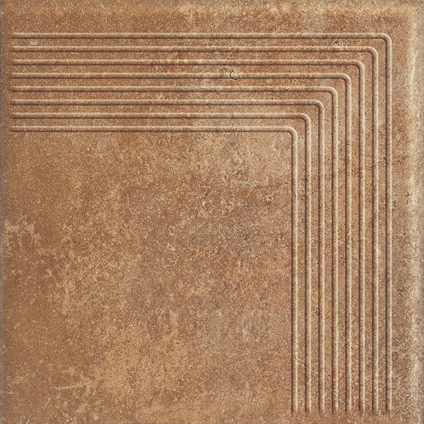 Płytka stopnicowa 30x30 cm Paradyż Scandiano Rosso Stopnica Narożna
