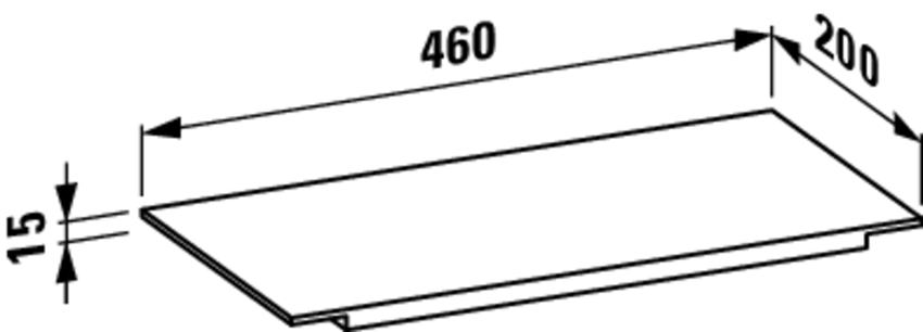 Półka 46 cm Laufen Kartell  rysunek techniczny