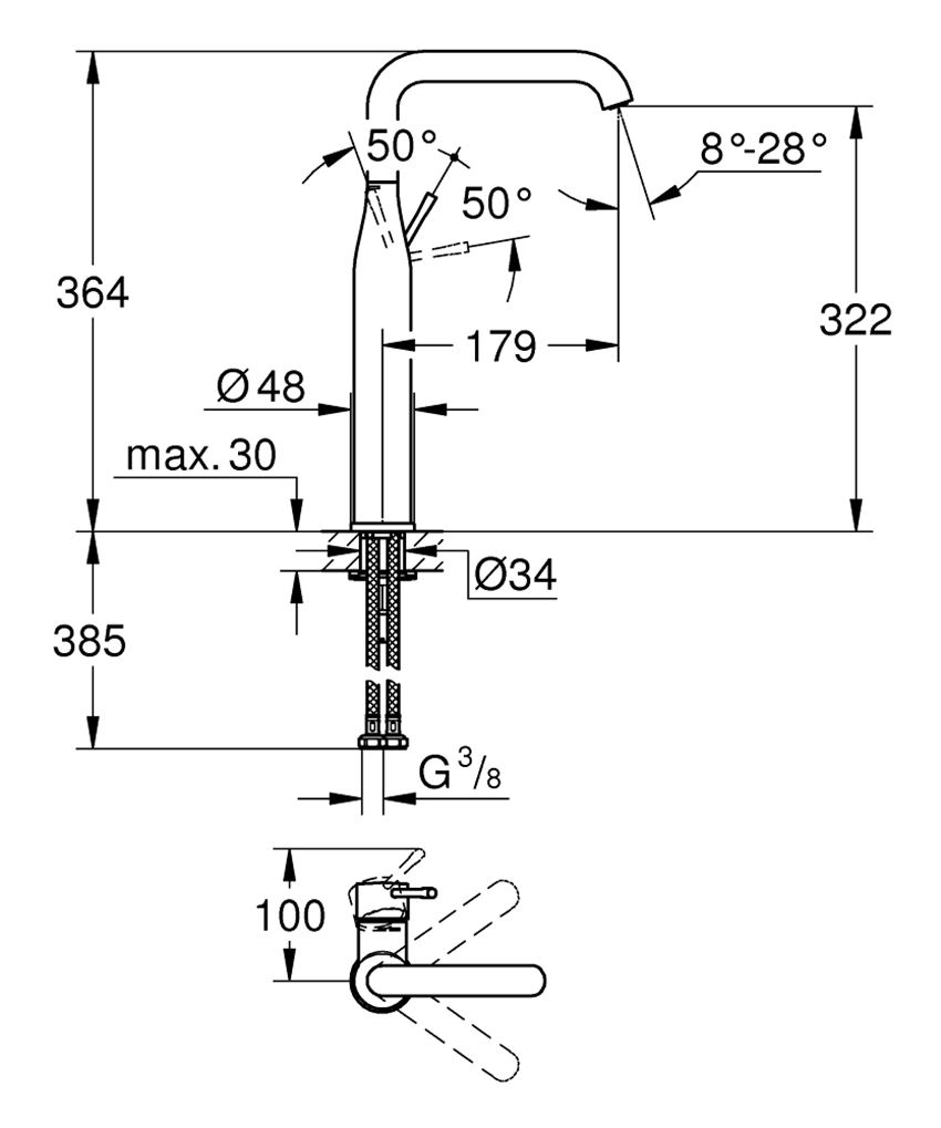 Bateria umywalkowa rozmiar XL 36,4 cm Grohe Essence rysunek techniczny