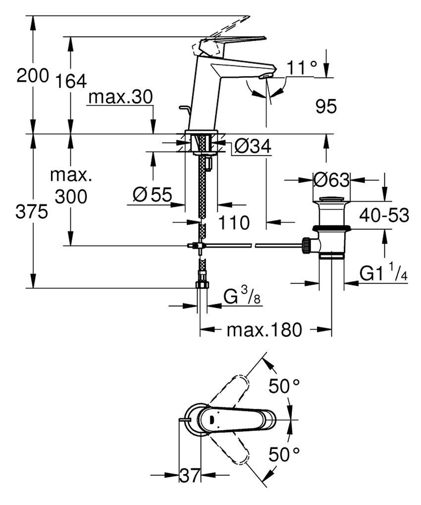 Jednouchwytowa bateria umywalkowa rozmiar S Grohe Eurodisc Cosmopolitan rysunek techniczny