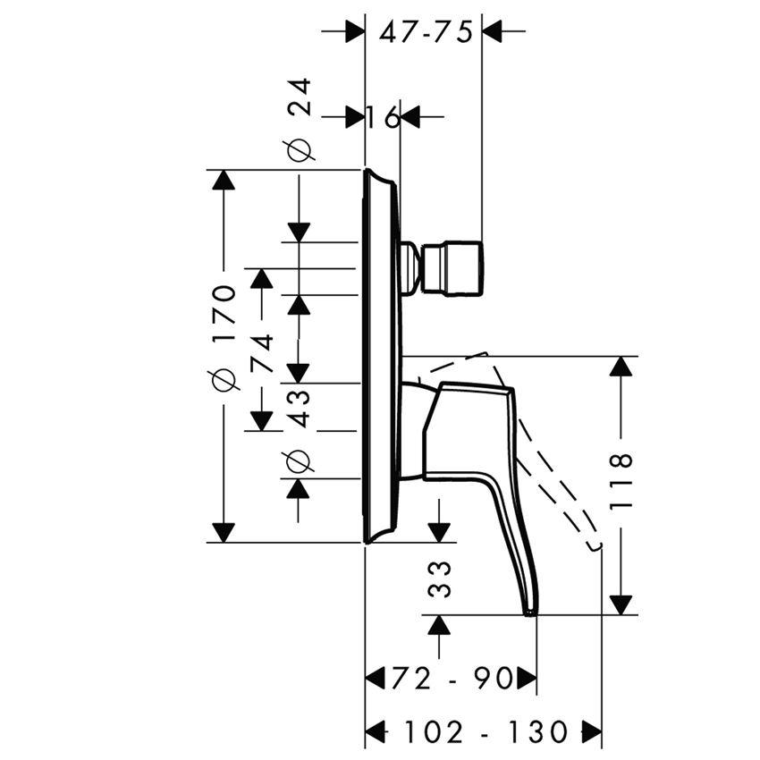Jednouchwytowa bateria wannowa montaż podtynkowy element zewnętrzny Hansgrohe Metris Classic rysunek techniczny