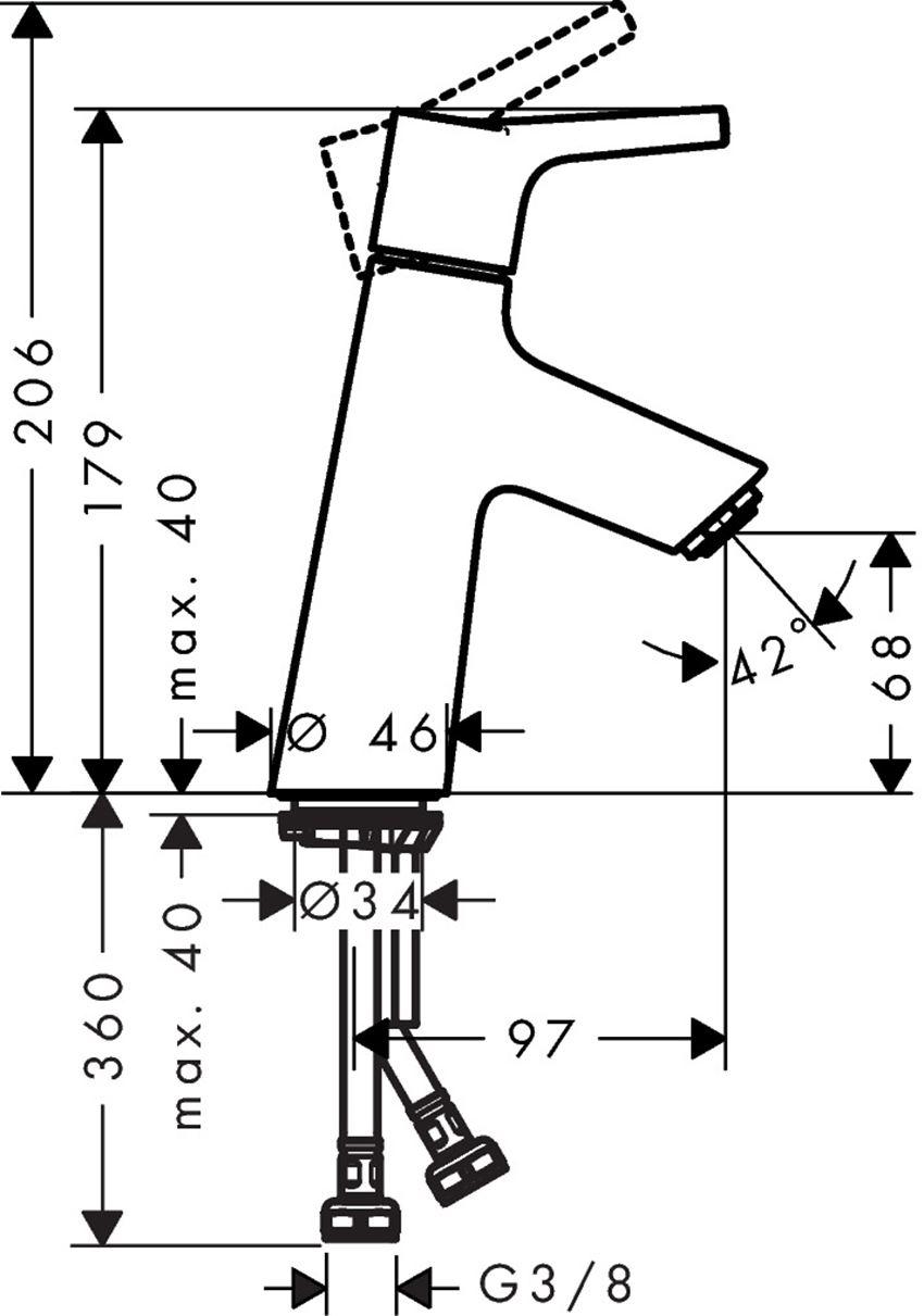 Jednouchwytowa bateria umywalkowa z kpl. odpływowym Push-Open Hansgrohe Talis S rysunek