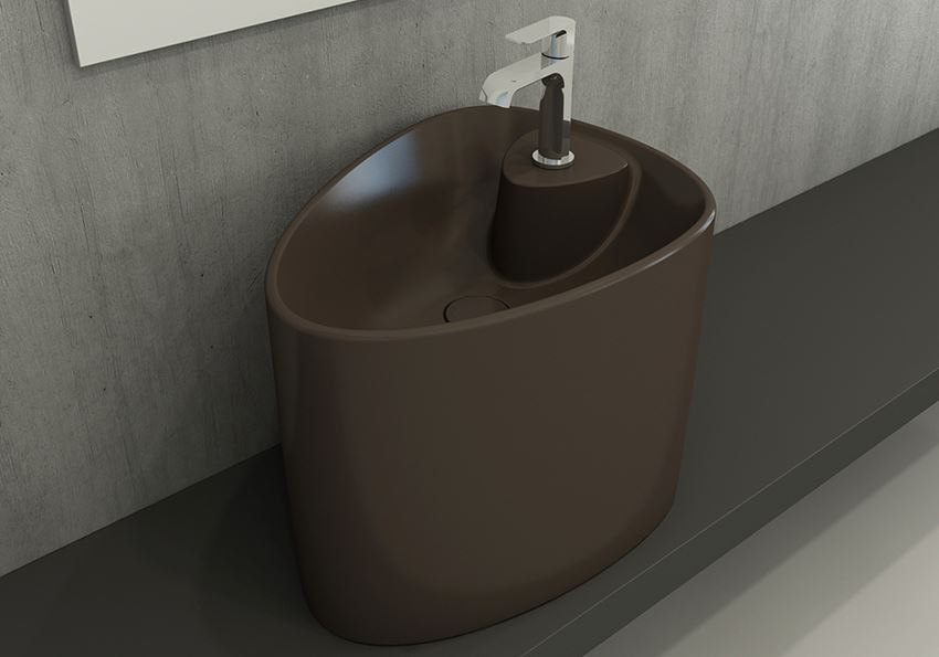 Umywalka nablatowa monoblok Matt Brown Bocchi Etna