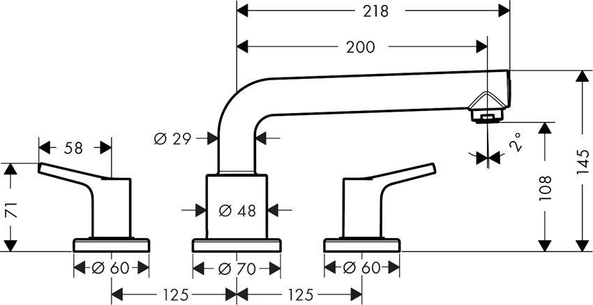 3-otworowa bateria na brzeg wanny Hansgrohe Talis S rysunek techniczny