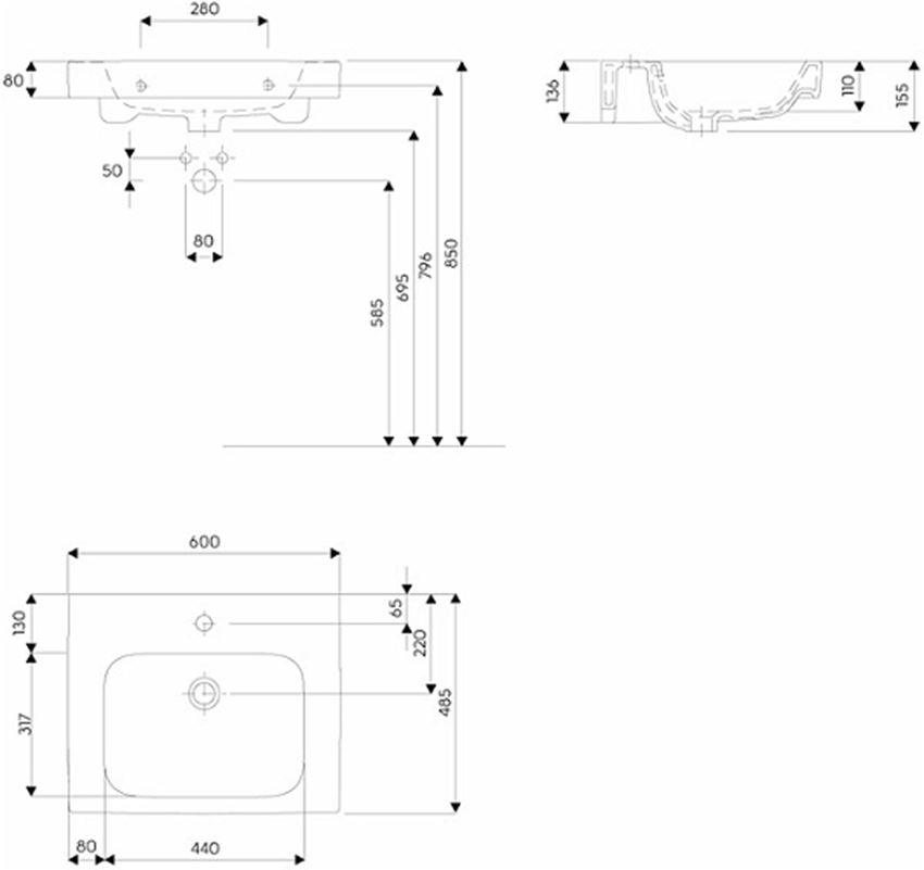 Umywalka rysunek techniczny Koło Modo