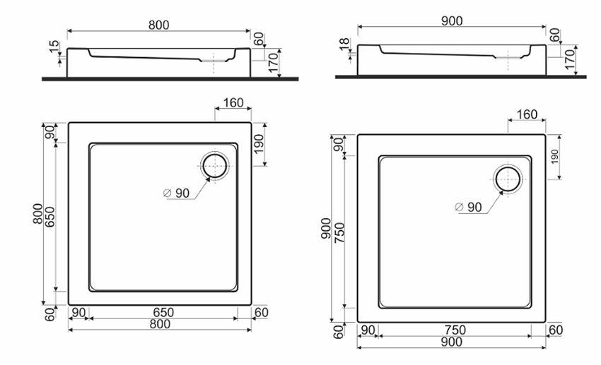 Brodzik kwadratowy ze zintegrowaną obudową Koło Simplo rysunek techniczny