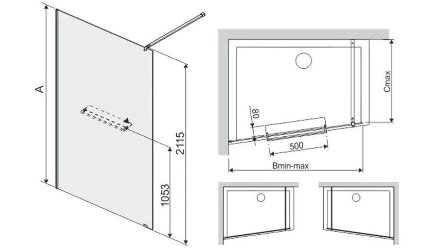 Kabina prysznicowa walk-in niesymetryczna Sanplast Altus rysunek