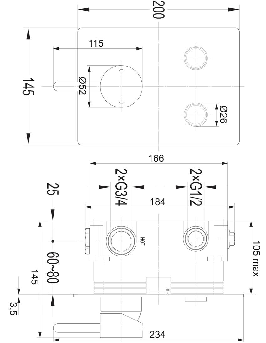 Bateria wannowa podtynkowa 14,5x20 cm Omnires Y GoClick rysunek