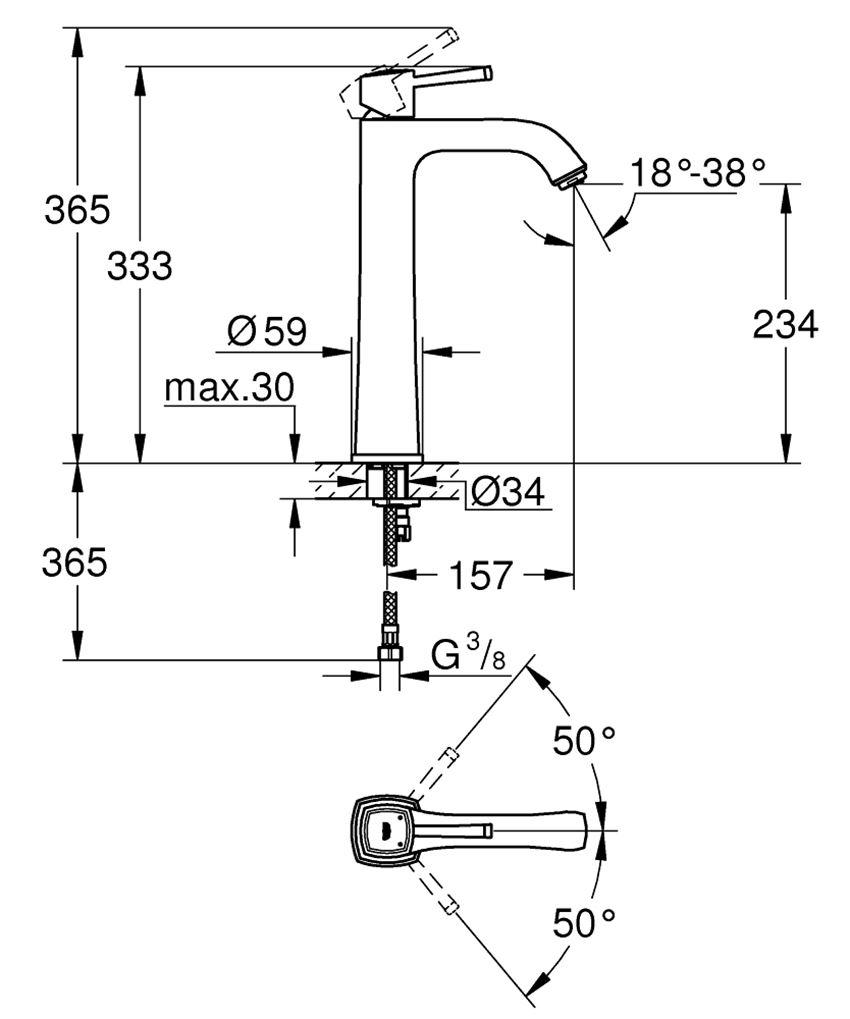 Bateria umywalkowa rozmiar XL Grohe Grandera rysunek techniczny