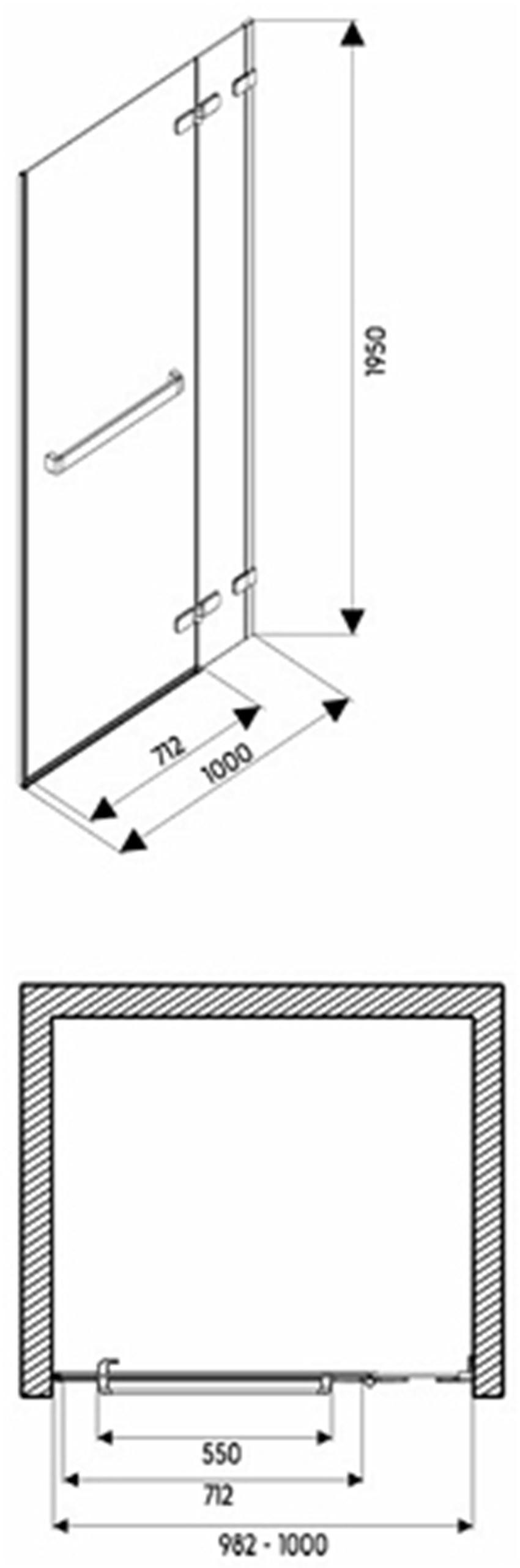 Drzwi prawostronne z relingiem 100x195 cm Koło Next rysunek techniczny