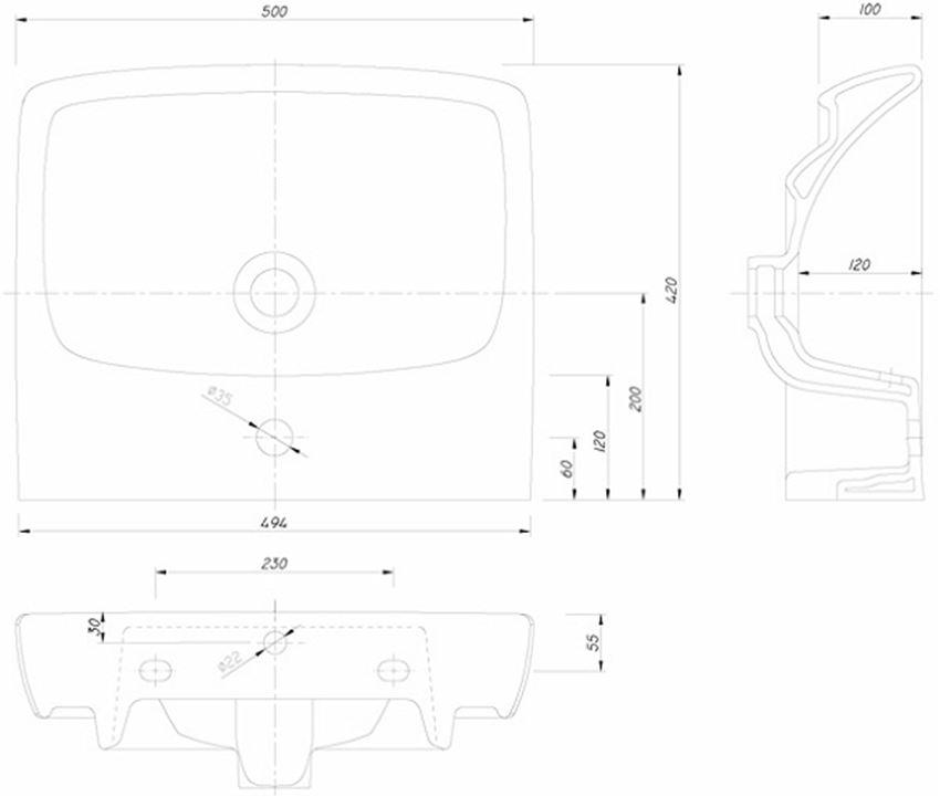 Umywalka prostokątna 50 cm Koło Nova Pro rysunek techniczny