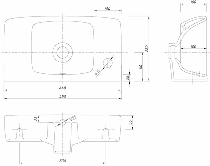 Umywalka prostokątną 45 cm Koło Nova Pro rysunek techniczny
