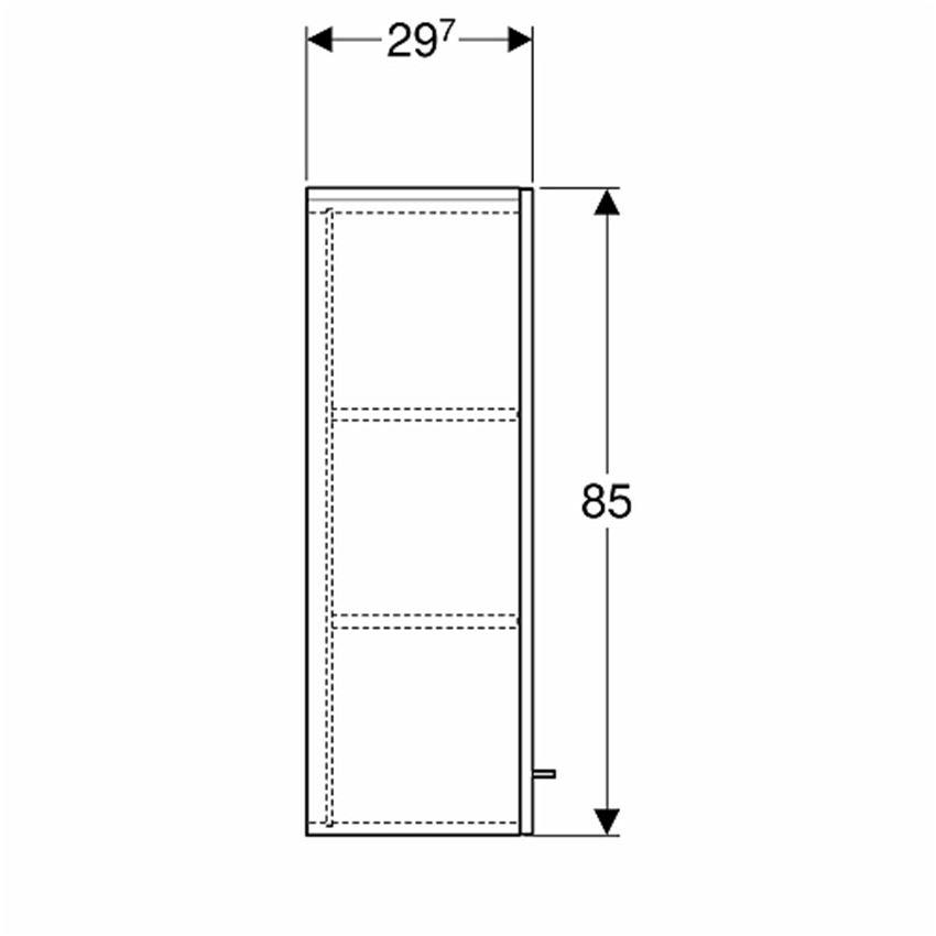 Szafka wisząca boczna 33x85x29,7 cm Koło Nova Pro Premium rysunek