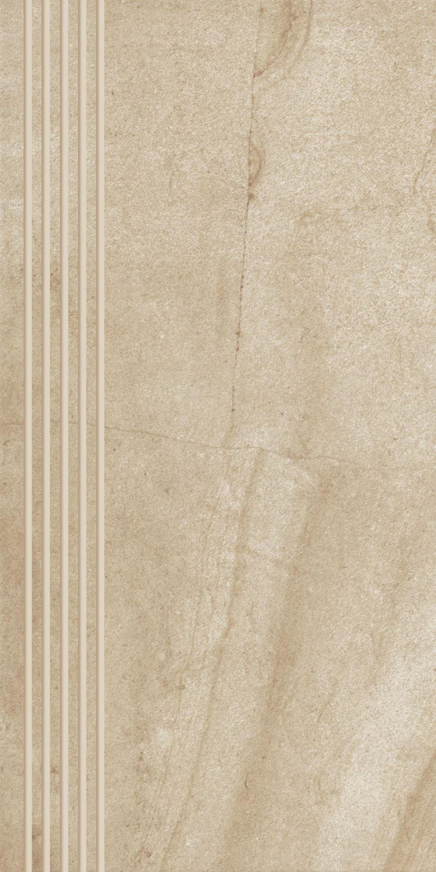 Płytka stopnicowa 30x60 cm Paradyż Teakstone Ochra Stopnica Prosta Nacinana Mat