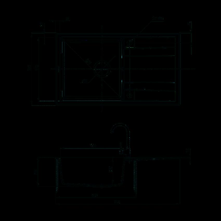 Zlewozmywak 1-komorowy z ociekaczem Deante Eridan rysunek techniczny