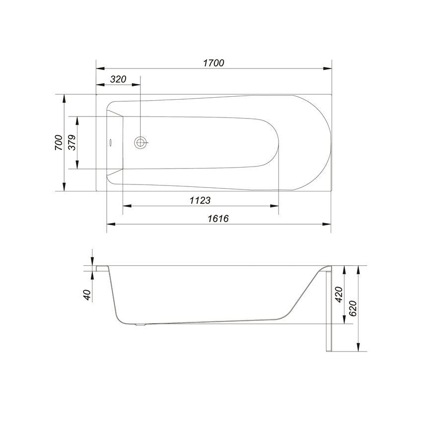 Wanna prostokątna 170x70x42 cm Cersanit Flavia rysunek techniczny