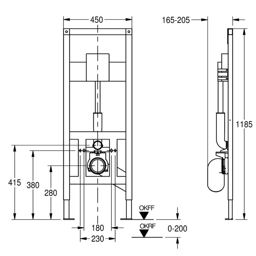 Stelaż podtynkowy do wiszących misek WC montowanych w łazienkach bez barier Franke Aquafix rysunek techniczny