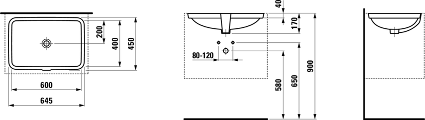 Umywalka podblatowa 60 cm Laufen Pro S rysunek