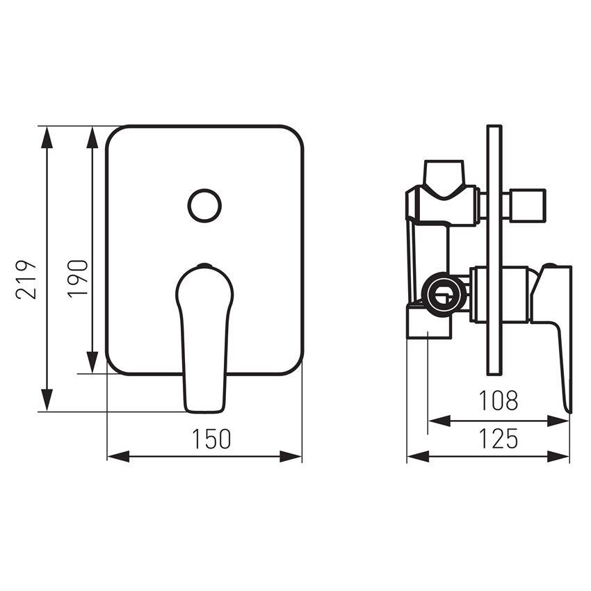 Bateria natryskowa podtynkowa Ferro Adore rysunek techniczny