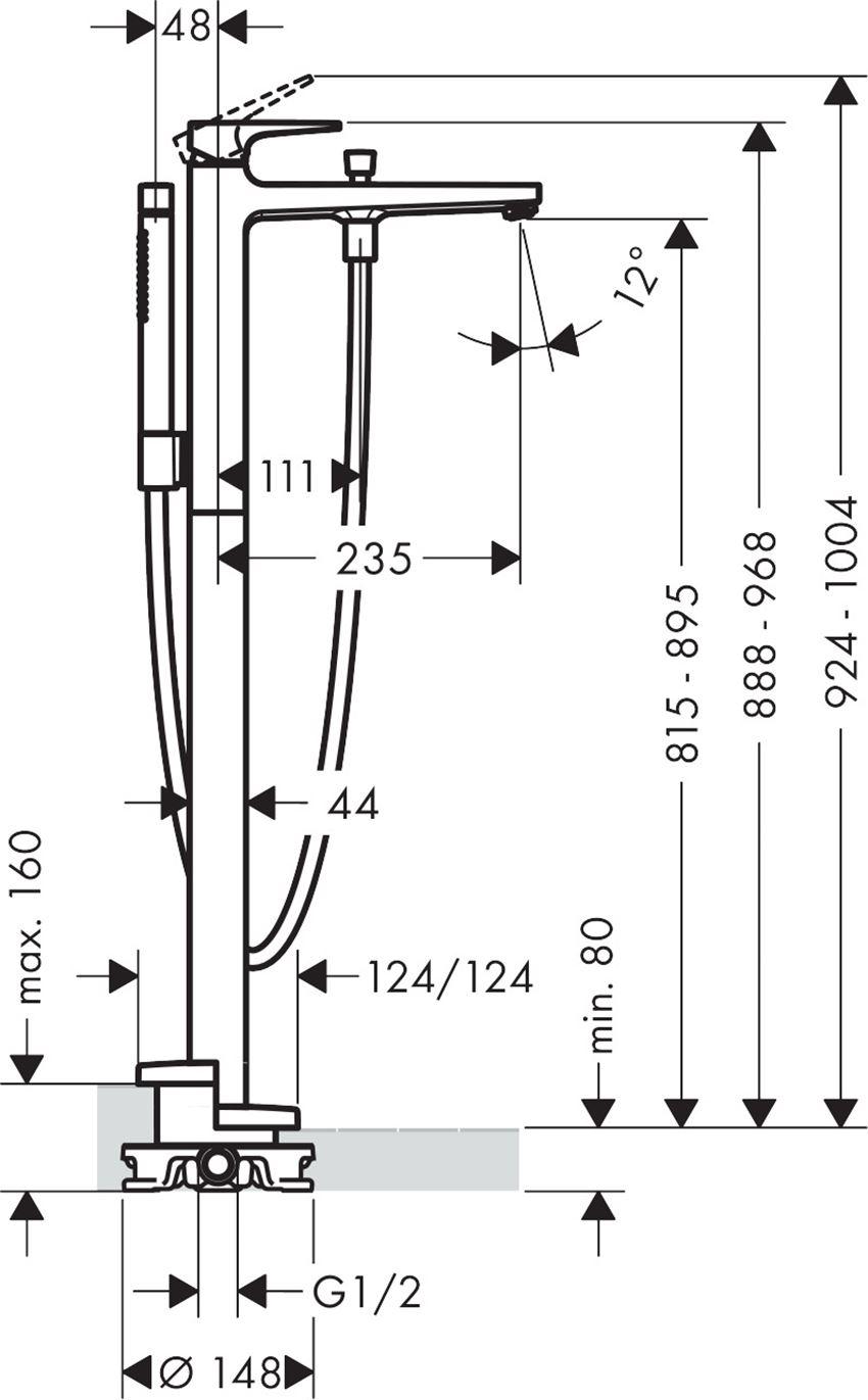 Jednouchwytowa bateria wannowa wolnostojąca Hansgrohe Metropol rysunek techniczny