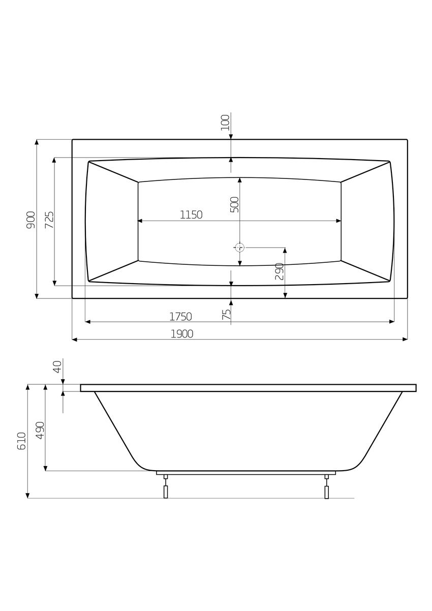 Prostokątna wanna 190x90x49 cm Roca Vita rysunek techniczny