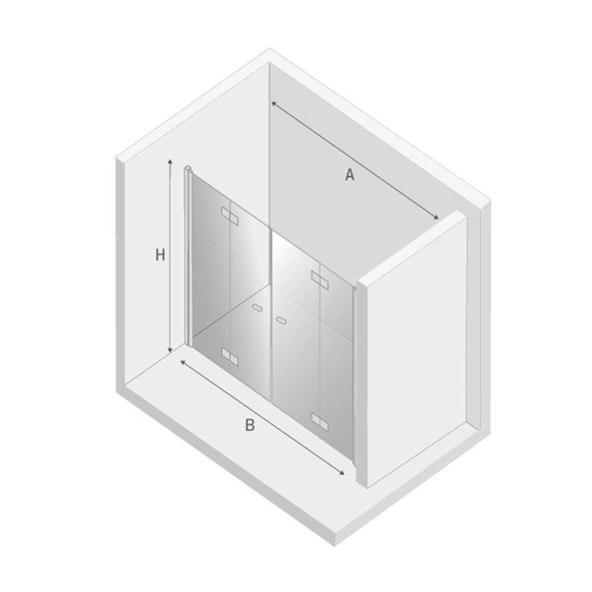Drzwi prysznicowe podwójne składane New Trendy New Soleo rysunek techniczny