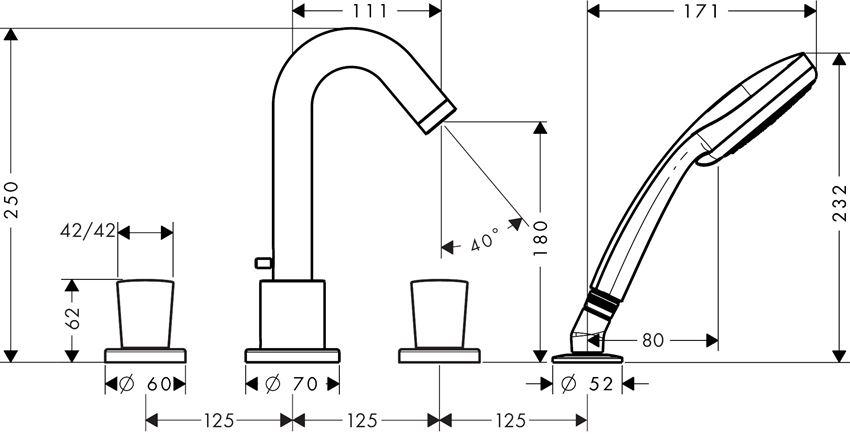 4-otworowa bateria wannowa Hansgrohe Logis rysunek techniczny