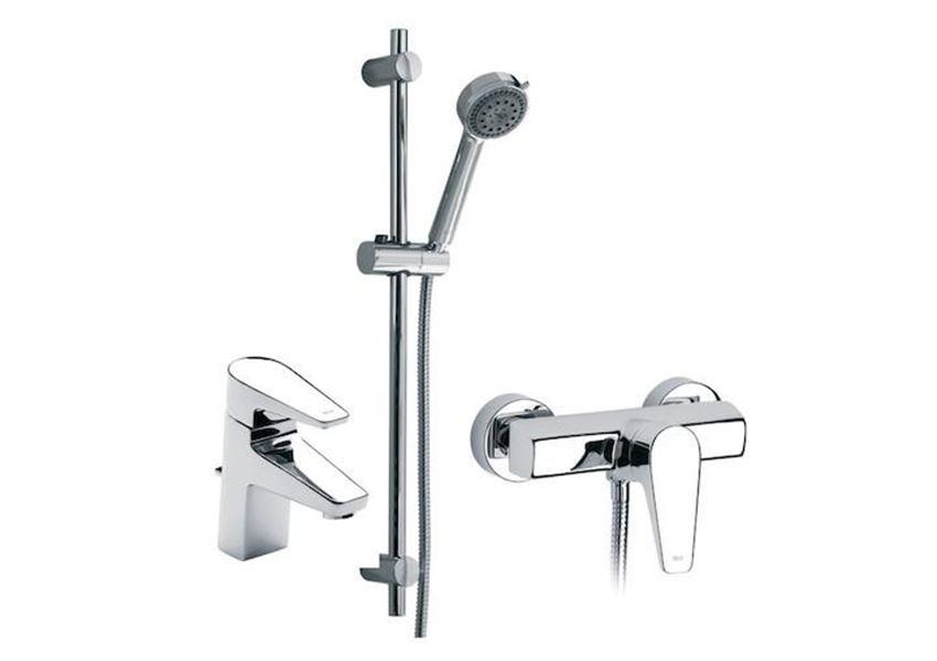 Zestaw baterii umywalkowo-prysznicowych Combo Pack 3 w 1 Roca Esmai